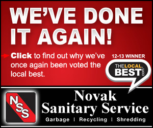 We've Done It Again! Click to find out why we've once again been voted the local best. Novak Sanitary Service. Garbage, Recycling, Shredding. The Local Best 13-14 Winner.