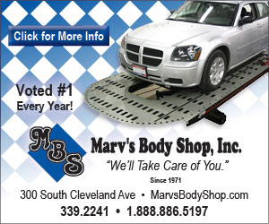 Marv's Body Shop, Inc. We'll Take Care of You. Since 1971. 300 South Cleveland Ave. 339-2241. 1-888-886-5197. MarvsBodyShop.com. MBS. Voted #1 Every Year! Click for More Info.