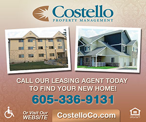 Costello Property Management. Call our leasing agent today to find your new home! 605-336-9131 - or visit our website CostelloCo.com. Equal Housing Lender.