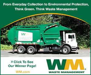 From Everyday Collection to Environmental Protection, Think Green. Think Waste Management. Click to see our winner page! Wate Management (registered symbol). WM.com