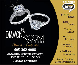 The Diamond Room by Spektor - There is no Comparison. 605-362-0008, www.TheDiamondRoom.com, 3501 W. 57th St., SF, SD - Financing Available. 9-Yr Winner - TheLocalBest.com. Jewelry Repair, Ring Sizing, Custom Design, Watch Batteries, Insurance Appraisals, 4 In-House Goldsmiths, Click Here For More Information!