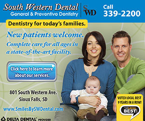 South Western Dental. General & Preventative Dentistry. Dentistry for today's families. New patients welcome. Complete care for all ages in a state-of-the-art facility. Call 339-2200. Click here to learn more about our services. 801 South Western Ave, Sioux Falls, SD. www.SmilesBySWDental.com. Voted Local Best 9 Years in a Row! The Local Best.com, Delta Dental Provider.