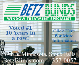 Betz Blinds - Window Treatment Specialist. 39th & Minnesota, Sioux Falls - BetzBlinds.com - 357-0056. Click Here For More Information.