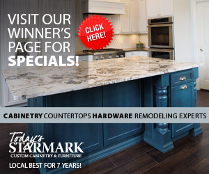 Visit our Winner's Page for Specials! Click Here. Cabinetry, Countertops, Hardware, Remodeling Experts. Today's StarMark Custom Cabinetry & Furniture. Local Best for 7 Years!