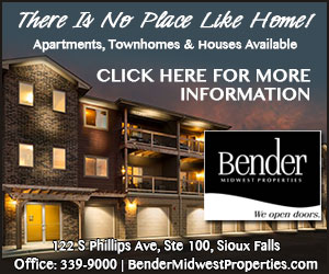 There Is No Place Like Home! Apartments, Townhomes & Houses Available. Click Here For More Information. Bender Midwest Properties - We open doors. 122 S Phillips Ave, Ste 100, Sioux Falls. Office: 339-9000, BenderMidwestProperties.com
