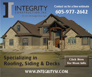 Integrity Construction, Inc. On time. On budget. Done right. Contact us for a free estimate. 605-977-2642. Specializing in Roofing, Siding & Decks. Click here for more info. www.integritysf.com.