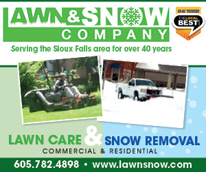 Lawn & Snow Company. Commercial & Residential Lawn Care & Snow Removal. The Local Best 13-14. Mowing, Fertilizing, Tree & Shrub Trimming, Spring/Fall Cleanup, Plowing, Sanding, Snow Blowing, Ice Control, Edging/Weeding, Aerating, Power Raking, Parking Lot Sweeping. Serving the Sioux Falls area for over 25 years! Click Here.