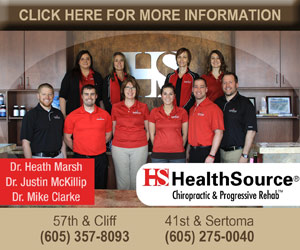 HealthSource Chiropractic & Progressive Rehab. Dr. Heath Marsh, Dr Justin McKillip, Dr. Mike Clarke. 57th & Cliff, 605-357-8093. 41st & Sertoma, 605-275-0040. Click Here For More Information.