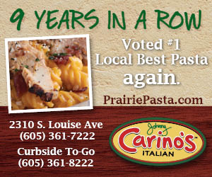 Thank You! Voted #1 Local Best Pasta 9 Years Running. PrairiePasta.com. Johnny Carino's Italian. 2310 S. Louise Ave, 605-361-7222. Curbside To-Go, 605-361-8222.