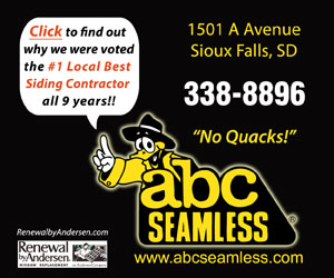 Click to find out why we were voted the #1 Local Best Siding Contractor all 9 years!! ABC Seamless. 1501 A Avenue, Sioux Falls, SD. 338-8896. No Quacks! www.abcseamless.com. RenewalbyAndersen.com, Renewal by Andersen Window Replacement