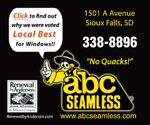 Click to find out why we were voted Local Best for Windows!! ABC Seamless. 1501 A Avenue, Sioux Falls, SD. 338-8896. No Quacks! www.abcseamless.com. Renewal by Andersen Window Replacement - an Andersen Company, RenewalbyAndersen.com.