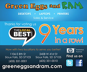 Green Eggs and Ram. Desktops, Laptops, Printers. Sales & Service. Thanks for voting us The Local Best 9 Years in a row! Now with two locations to serve you better! 1106 E 8th St, Sioux Falls SD 57103, 605-331-0001 and 2408 W 41st St, Sioux Falls SD 57105, 605-331-0010. Preferred partner HP. Find us on twitter and facebook. greeneggsandram.com