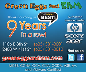 Green Eggs and Ram. Thanks for voting us The Local Best 9 Years in a row! 1106 E 8th St, 605-331-0001 and 2408 W 41st St, 605-331-0010. Authorized service center - HP, Sony, Acer. Find us on twitter and facebook. greeneggsandram.com. MCSE, CCNA, CCA, CNA, CCDA, ASE, A+, and VMWare Certified.