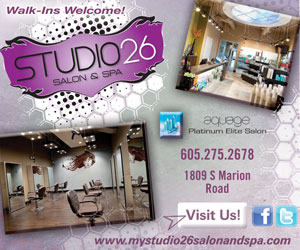 Studio 26 Salon & Spa. Aquage Platinum Elite Salon. 605-275-2678. 1809 S Marion Road. Visit Us! Facebook, Twitter. www.mystudio26salonandspa.com