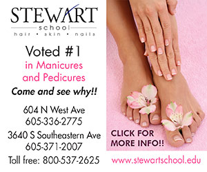 Stewart School hair- skin - nails. Voted #1 in Manicures and Pedicures. Come and see why!! 604 N West Ave, 605-336-2775, 3640 S Southeastern Ave, 605-371-2007, Toll free: 800-537-2625. www.stewartschool.edu. Click for more info!!