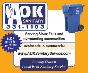 AOK Sanitary. 331-1103. Serving Sioux Falls and surrounding communities. Residential & Commercial. www.aoksanitary.com. Locally owned. Local Best Sanitary Service. Click here for our winner page!