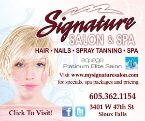 Signature Salon & Spa. Hair, Nails, Spray Tanning, Spa. Aquage Platinum Elite Salon. Visit www.mysignaturesalon.com for specials, spa packages and pricing. 605-362-1154. 3401 W 47th St, Sioux Falls. Click to Visit!