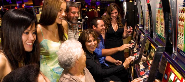Players at the slot machines