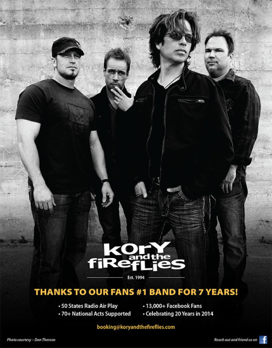 Kory and the Fireflies - Est. 1994. Thanks to our fans #1 band for 7 years! 50 States Radio Air Play, 70+ National Acts Supported, 13,000+ Facebook Fans, Celebrating 20 Years in 2014.  booking@koryandthefireflies.com. Photo courtesy - Dan Thorson. Reach out and friend us on Facebook.