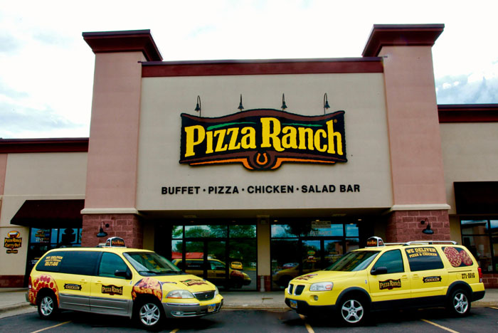 Earn FREE Pizza Ranch. Pick up your Ranch Rewards card today, and use it every time you visit a Pizza Ranch. You will earn one point for every dollar spent on eligible food and beverage options, as well as gift card purchases made in the restaurant.