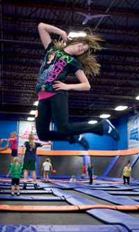 Girl jumping at Sky Zone